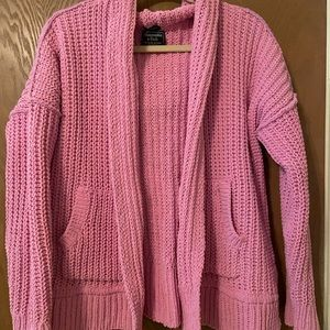 Hooded pink oversized sweater